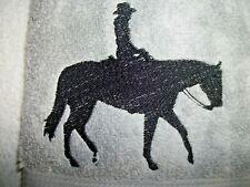 PLEASURE HORSE RIDER DESIGN, EMBROIDERED HAND TOWEL,GREY