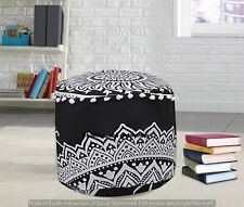 Black & White Cotton Ottomans Indian Handmade Footstools 22'' Inch Poufs Cover