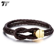 TT Geniune Brown Leather 316L S. Steel Gold Buckle Bracelet (BR204HJ) NEW