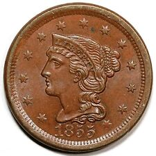 1855 N-3(a) EDS Upright 5's Braided Hair Large Cent Coin 1c