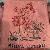 Vintage MCM Tiki Bar Hulu Girl Pink Rayon Kitchen Tablecloth & Napkins 1950s