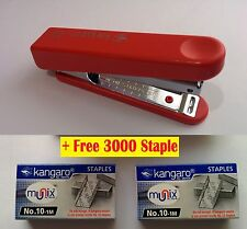 KANGARO HS10-A STAPLER WITH STAPLE REMOVER HOOK FREE 3000 STAPLES OFFICE Red