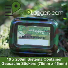 10 x *NEW* GEOLoggers Sistema Food Geocache Container Camo Stickers WATERPROOF!