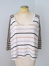 Ella Moss tissue t-shirt rayon knit top black tan stripe boxy drapey dolman XS