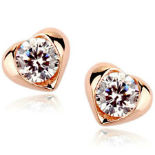 Rose Gold Finish Heart Shaped Stud Earrings Clear cz quality jewellery UK boxed