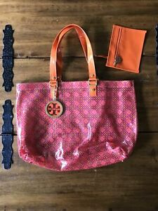 Nwot Tory Burch Clear PVC Orange Patent Leather Canvas Strap Beach Bag Tote
