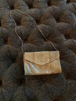 Vintage Tan Gold Snakeskin Purse Shoulder Bag Envelope Chain Bag Excellent! W9