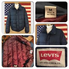 EXC COND VTG LEVIS MENS MEDIUM NAVY BLUE INSULATED ZIP SNAP SKI PUFFER JACKET