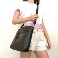 NWT Coach Signature Brown Black Mae Canvas Leather Crossbody Bag F77885