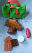 PRETEND PLAY CAMPING FOOD SET LOGS WITH FIRE SMORES L@@K