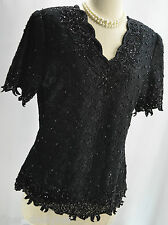 Vtg Classic Creations V neck Cocktail Cruise Black Lace Beaded Blouse Top Sz Pm