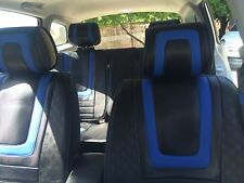 Carbon & Blue PVC Leather Car Seat Covers Steering Wheel Shift Knob Headrest Set