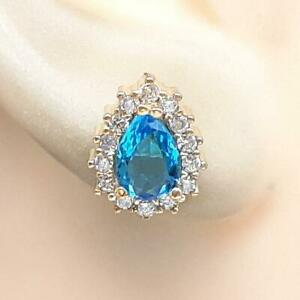 Deco 1.80ct Topaz & Diamond Cut White Sapphire 14K Yellow Gold 925 Stud Earrings