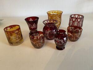 Konvolut Geschliffenes Glas Vasen Rotes Glas Geschliffen Glas