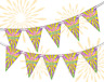 Mardi Gras Rays Carnival Bunting Banner 15 flags by PARTY DECOR