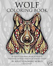 Wolf Adult Colouring Book Wolves Animal Lovers Detail 40 Designs 1 Sided Gift