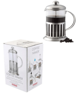 GLASS CAFETIERE COFFEE PRESS PLUNGER STAINLESS STEEL JUG POT GROUND FILTER 600ML