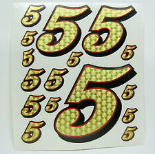 Racing Numbers Number 5 Decal Sticker Pack Gold Red Black 1/8 1/10 RC models S05