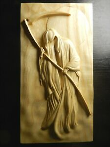 Wood carved picture wall decoration plaque. Grim the Reaper. Death
