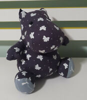 HIPPO PLUSH TOY! SOFT TOY ABOUT 18CM TALL!HANDMADE? BOW FABRIC PUMA FABRIC!
