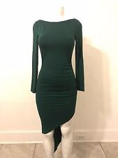 EMERALD GREEN SIDE RUCHED DRESS (NW0T  / SZ SMALL)