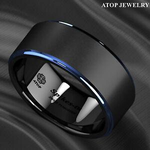 8/6mm Black Brushed Blue Stripe Tungsten Ring Wedding Band ATOP Men's Jewelry