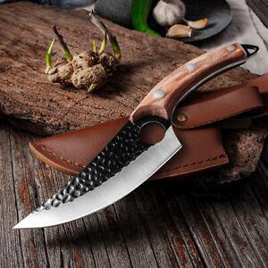 Serbian Chef Knife Forged Kitchen Butcher Boning Cleaver Hunting Slicing Knife