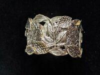 Vintage Gold Tone Signed NR Leaf Open Cuff Bracelet