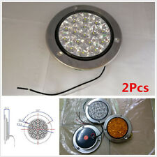 16-LED Round Clear Lens White Truck Tail /Back-up Reverse Lamps Waterproof 2Pcs