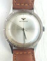 Vintage Wittnauer Manual Men's Watch Running No-Date ALL STEEL Crosshair Dial