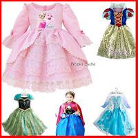 Elsa Anna Princess Dresses Kids Costume Disney Girls Party Cloth Dress Frozen