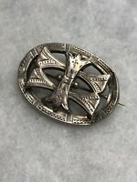 Antique Victorian Brooch White Metal Unmarked Etched C Clasp 1870s 1880s Retro