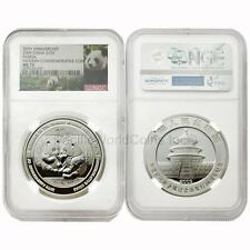 China 2009 Panda 30th Anniversary Modern Commemorative 1 oz Silver NGC MS70