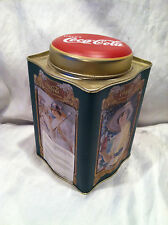 "Collectible Green Coca Cola Tin ""The Year Round Drink"" 6"" Square With Round Top"