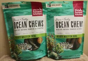 Lot of 2 Honest Kitchen Ocean Chews Hearty Wolfish Chews, Large Chews,6oz ea bag