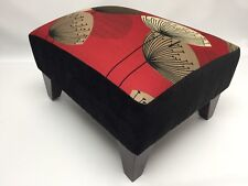 Footstool pouffe Sandersons Dandelion clocks Red dark wood British made