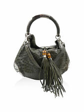 Gucci Green Ostrich Embossed Leather Bamboo Tassel Indy Handbag