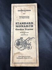 Standard Monarch Walk Behind Lawn Garden Tractor Owners Manual