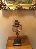 """Antique 1879 21"""" Pedestal Glass And Brass Oil Lamp W/wick"""