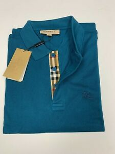 Burberry london men's regatta blue  check placket polo shirt