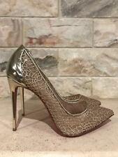 NIB Christian Louboutin Follies Lace 100 Gold Mesh Chain Heel Pump 35 $795