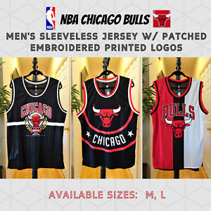 NWT NBA CHICAGO BULLS MENS SLEEVELESS JERSEY PATCHED EMBROIDERED LOGOS SIZE M, L