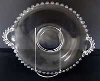 Vintage IMPERIAL GLASS CANDLEWICK CLEAR ROUND HANDLED  SERVING PLATE Tray