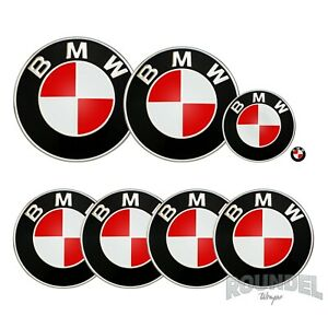 For BMW Badges - Gloss Red  - All Models Decals Wrap Stickers Overlays