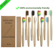 10pc Eco-Friendly Children Bamboo Toothbrush Handle Soft Health Oral Care Supply