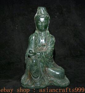 "11.2 ""Alter China Grüner Jade Schnitzsitz Kwan-Yin Guan Yin Boddhisattva Statue"