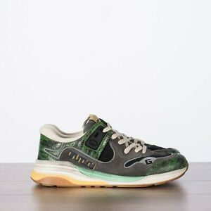 GUCCI 790$ Men's Ultrapace Sneakers In Green, Grey & Black