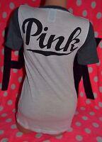 Victoria's Secret PINK Logo Athletic V neck Tee White Gray Shirt Top Logo M VS