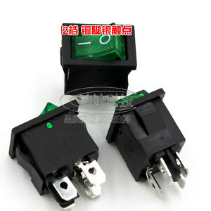 4Pin Rectangle Rocker Switch Red Green illuminated 6A 250V DPST On-Off Cover