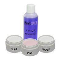 Acryl Set Starterset Acrylpulver klar,pink,weiss + 100ml Liquid